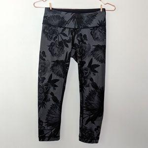 Lululemon cropped leggings floral pattern black